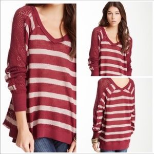 FREE PEOPLE | Maroon Striped V Neck Crocheted Top